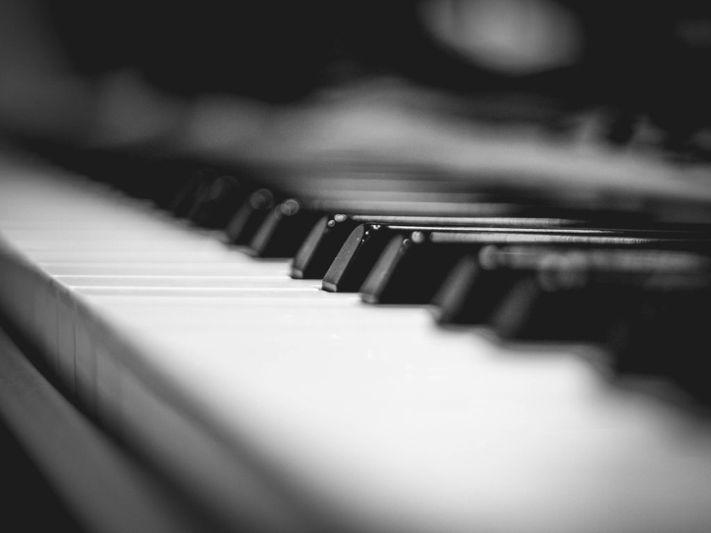 piano keyboard viewed from close up