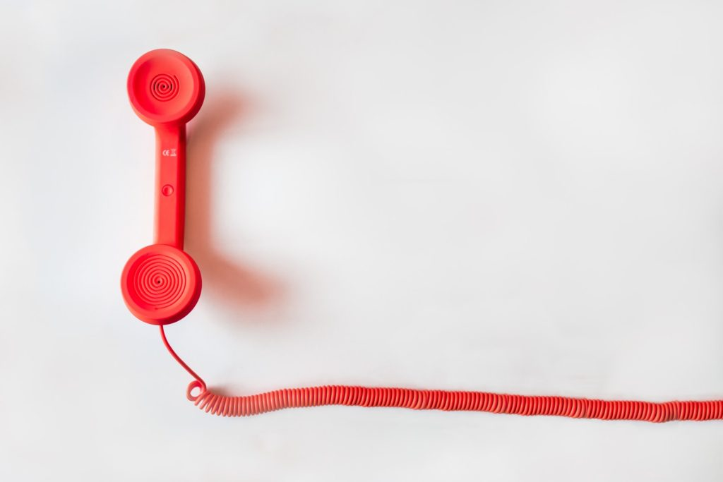 red corded telephone