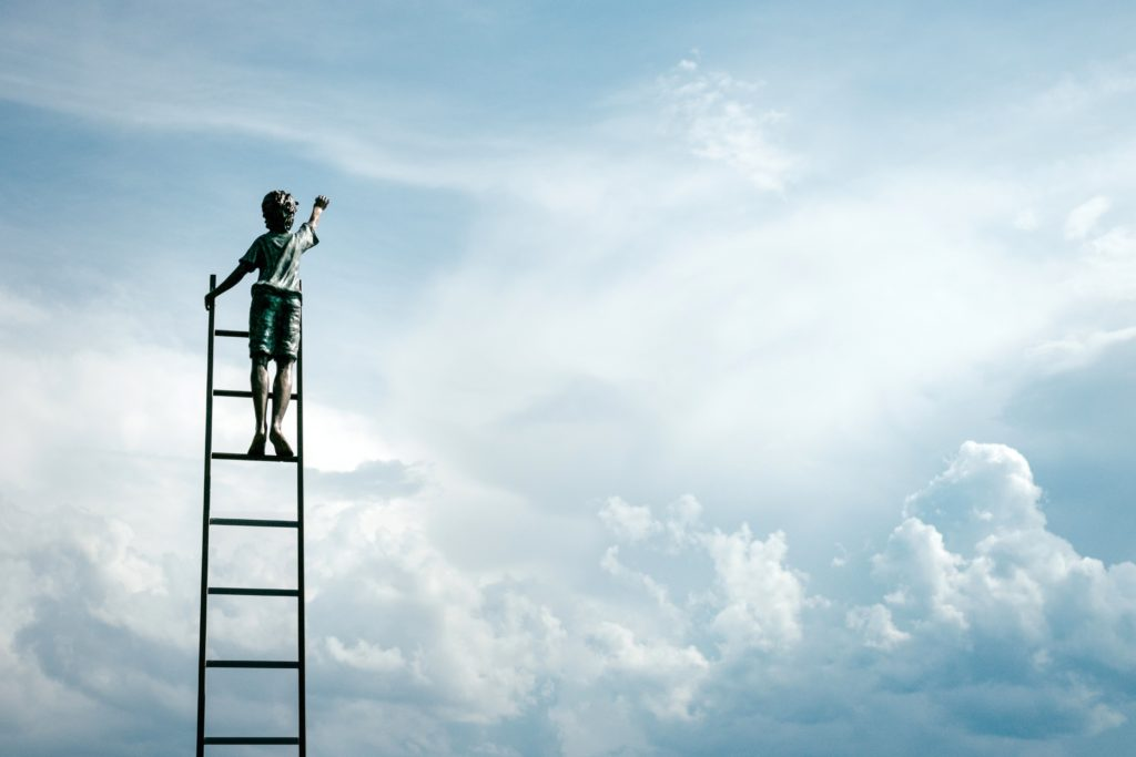 person standing on top of a ladder in the clouds